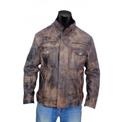 Distress Diamond Leather Jacket