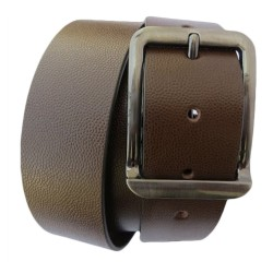 STYLISH FISH SCALE DESIGN BROWN LEATHER BELT