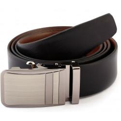 Auto Lock Black Brown Leather Belt