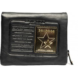 E.S.I.P.O.S.S star black leather wallet