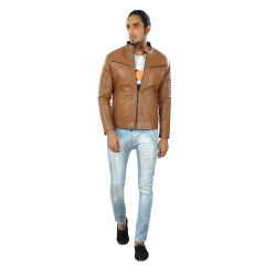 Brown Stylish Gents Leather Jacket