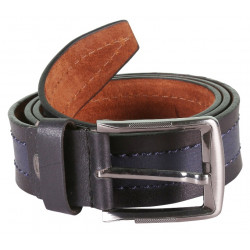 Designer Black Leather Belt With a Unique Stitch and Metallic Pin Buckle
