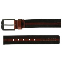 BrownInBlack Leather Belt with Pin Buckle