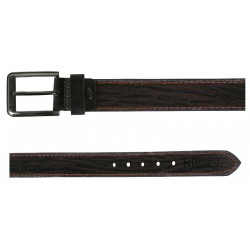 RoughNTough Black-Brown Stitched Leather Belt With Pin Buckle