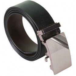 SleekNShine Black Designer Leather Belt With Metallic Auto lock Buckles