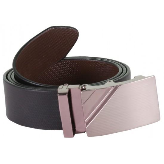 SleekNShine Black Designer Leather Belt With Metallic Auto lock Buckles