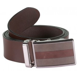 Sleek Plain Brown Leather Belt With Metallic Auto Lock Buckle