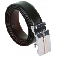 SleekNShine Plain Black Leather Belt With Auto Lock Buckle