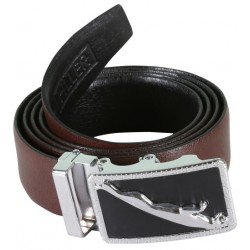 SleekNShine Brown Designer Belt With auto Lock Buckle