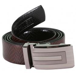 Snake Print Designer Leather Belt With Auto Lock Buckle