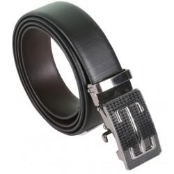Sleek Designer Black Belt With Metallic Auto Lock Buckle