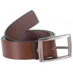 Sleek Brown Leather Belt With Metallic Pin Buckle