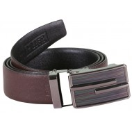 BrownBlack Two Sided Leather Belt With Metallic Auto Lock Buckle