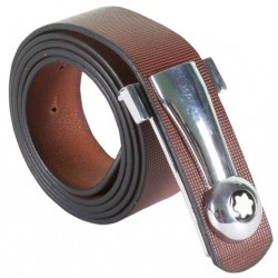 CLASSY AND DESIGNER BROWN LEATHER BELT WITH METALLIC AUTO LOCK BUCKLE