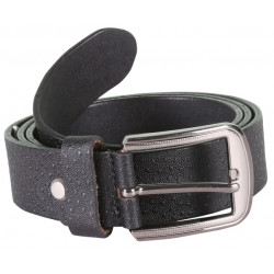 Designer Black Leather Belt With Metallic Pin Buckle