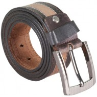 Double Stitched Brown Leather Belt With Metallic Pin Buckle