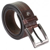 RoughNTough Single Stitched Brown Leather Belt With Metallic Pin Buckle