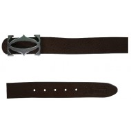 Brown Leather Belt With Designer Auto-lock Buckle
