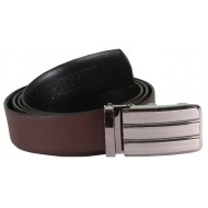 Brown Leather Belt With Auto-Lock Buckle