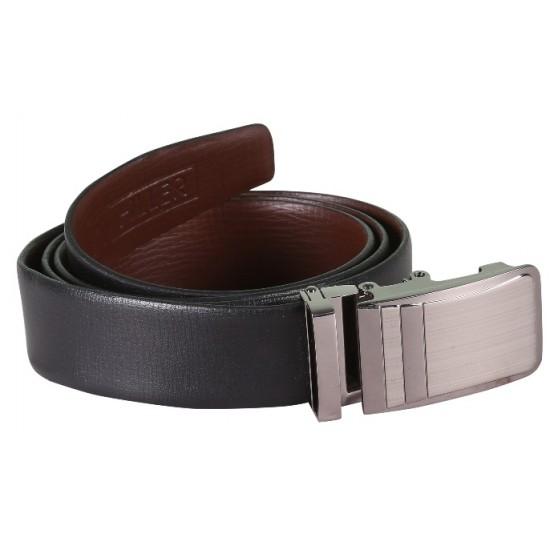 Plain Black Leather Belt With Block Designed AutoLock Buckle