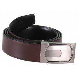 SleekNShine Brown Leather Belt With AutoLock Buckle