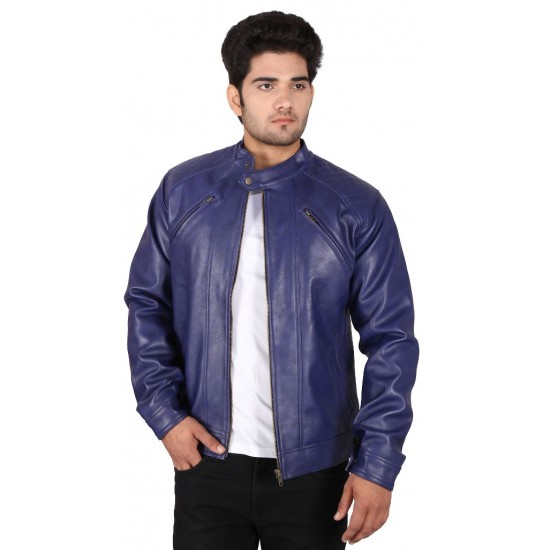 Prussian Blue Leather  Jacket