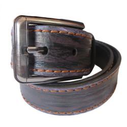 Double Stiched Black Burnt Leather Belt