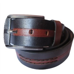 Middle Stitched Dual Color Leather Belt