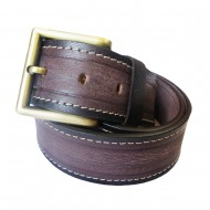 Double Stiched Smooth Texture Leather Belt