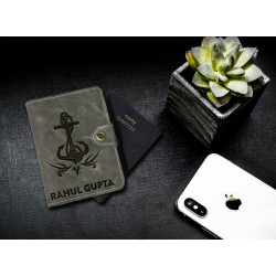 Anchor Design Leather Personalized Passport Cover