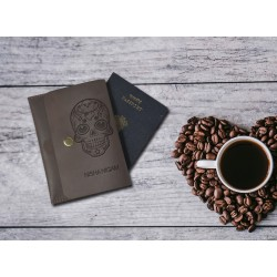 Shale colour Leather Personalized Passport Cover