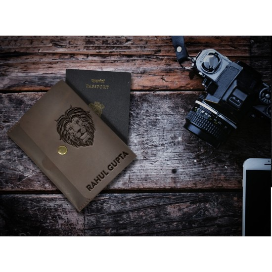 Lion Design Leather Personalized Passport Cover
