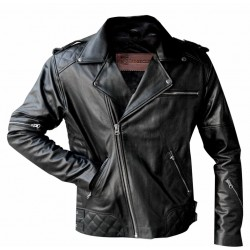 Black goat biker leather jacket