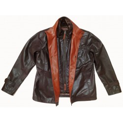 Dual colour buffalo leather jacket inner fur