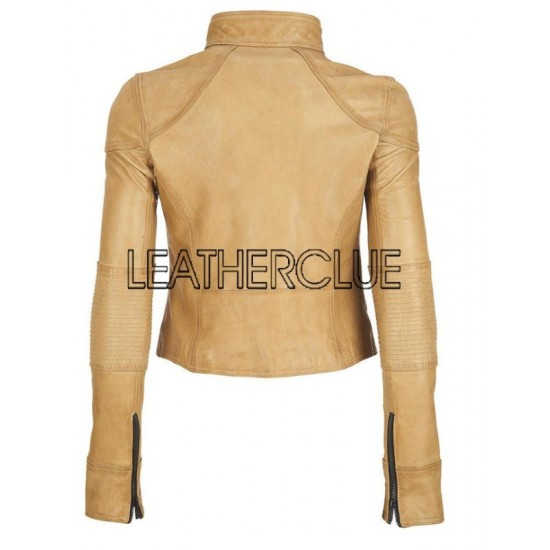 special section Good Prices huge sale Light shade of beige leather jacket for women - HTLJL011