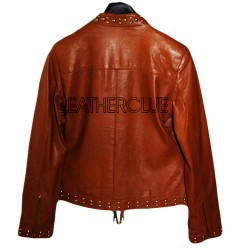 Brown color Ladies Leather Jacket