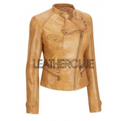 Beige colored leather jacket