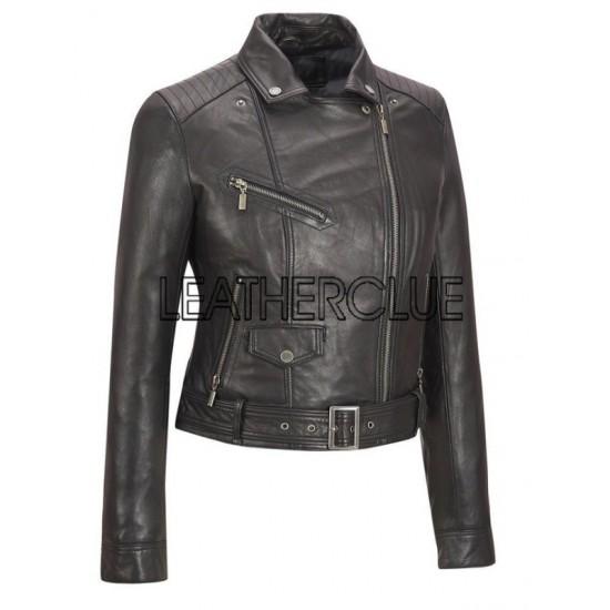 Stylish black biker jacket for women