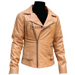 Distressed Irish Cream Leather Jacket