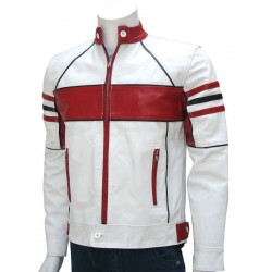 White and Red Strip Leather Jacket