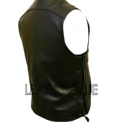 V- Neck Leather Waistcoat