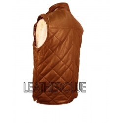 Tan Colour Diamond Stitching Style Leather Waist Coat
