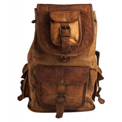 "16"" Leather Backpack for College Bag for Men & Women"