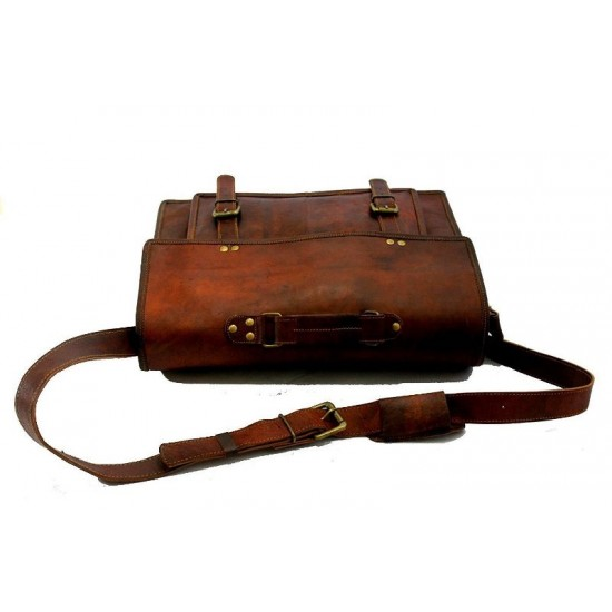 Unisex Leather 13 Inches Brown Laptop/Messenger Bags