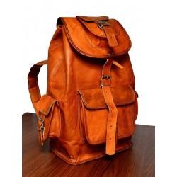 Unisex 16 Inches Leather Brown Retro/Vintage Dapper Sailor Rucksack/Backpack