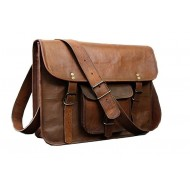 Unisex Dark Brown Sling Shoulder Side Leather Laptop Bag