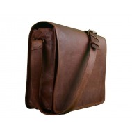 "Dark Brown 13"",Znt Bags Boy's and Girl's Original Leather Laptop Bag"