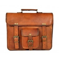 Leather Brown Laptop Messenger Bag for Men and Women