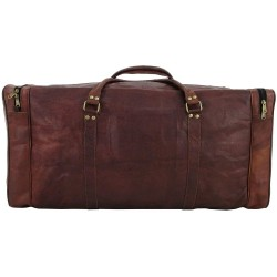 "Leather Brown Duffle Travel Bag/Overnight Bag Weekend Bag Leather Gym Sports Cabin Luggage Bag for Men/Men's/boys/Girls/Women's 24""Inch"