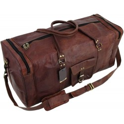 """Leather Brown Duffle Travel Bag/Overnight Bag Weekend Bag Leather Gym Sports Cabin Luggage Bag for Men/Men's/boys/Girls/Women's 24""""Inch"""
